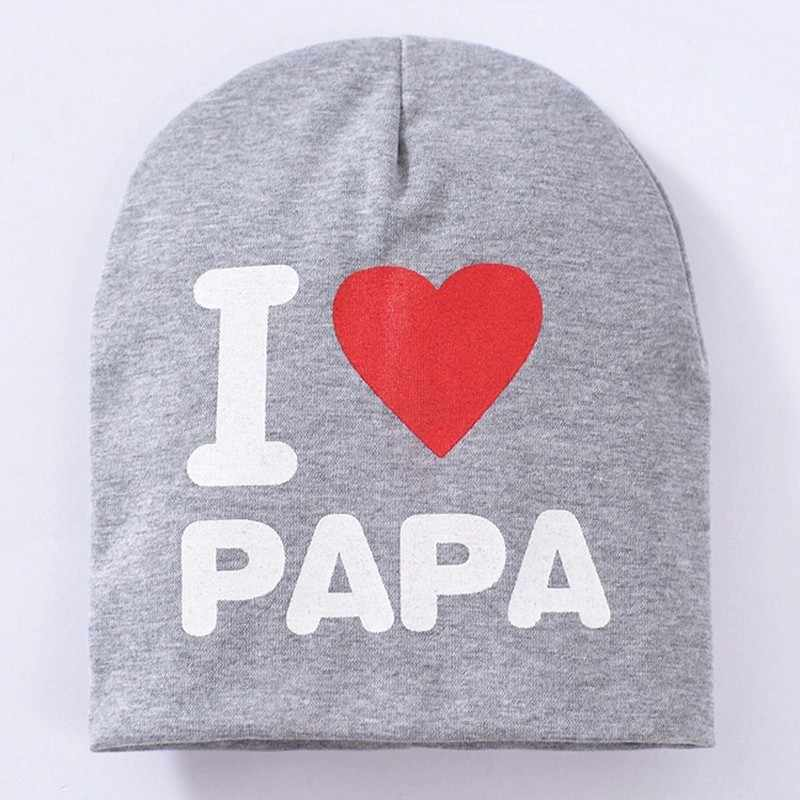 Bayi Topi Aku Cinta Papa Mama Musim Semi Musim Gugur Musim Dingin Hangat Headwears Lucu Anak Balita Bayi Unisex Anak Laki-laki Perempuan Aksesoris topi