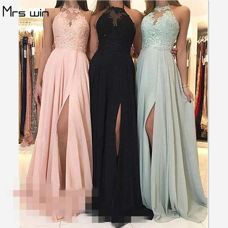 Mrs Win Bridesmaid Dresses Long Halter Lace Vestido Madrinha For Grils Plus Size Tank Women Wedding Party Dress Under 50 HR059