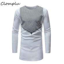 Clomplu African Dashiki Men Fashion Striped Autumn Long Sleeve Clothes Casual Style Shirt White Plus Size Tops