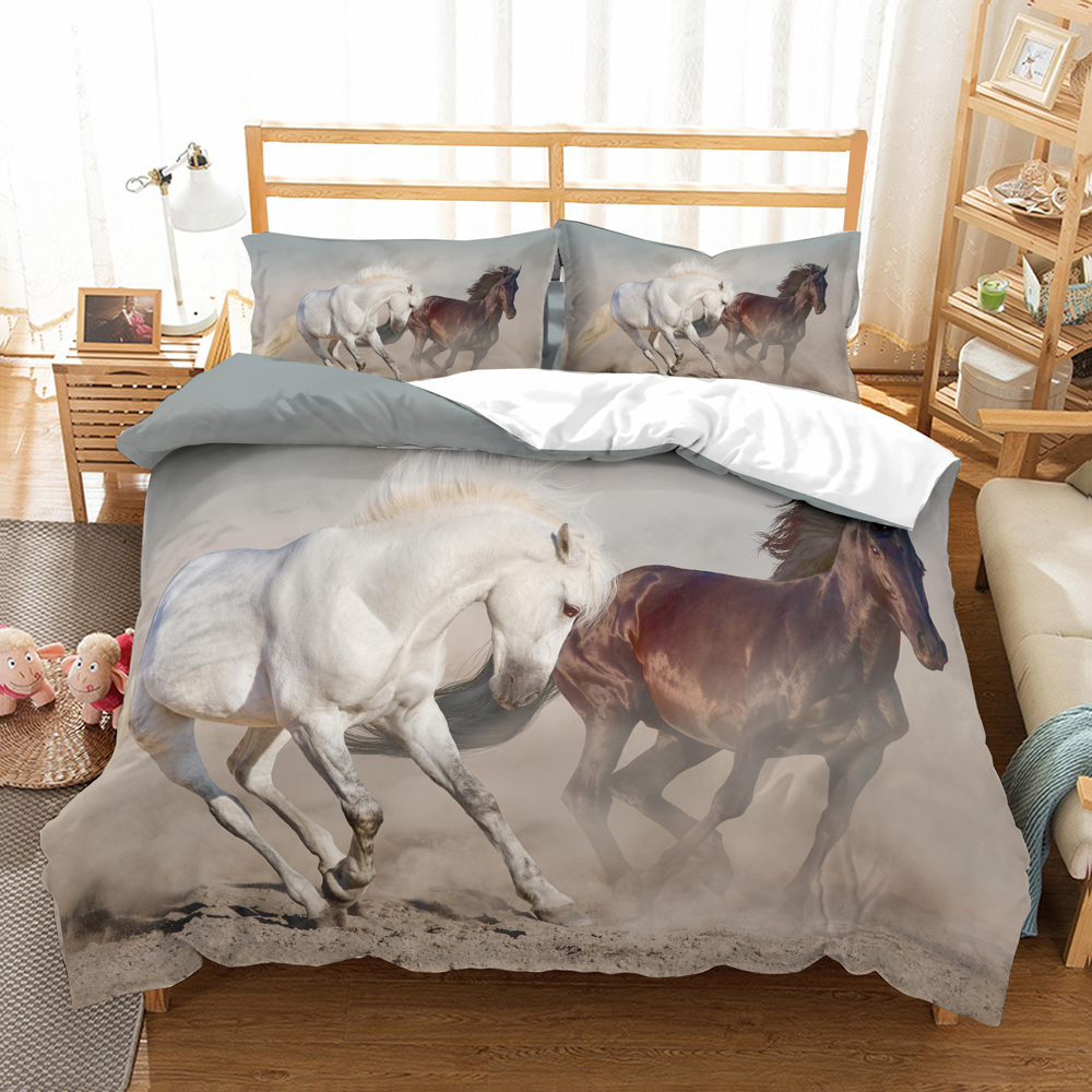 Gallop Horse Bedding Set Bedroom Decor Black Background Microfiber Hypoallergenic With Zipper 1PC Duvet Cover With Pillowcases
