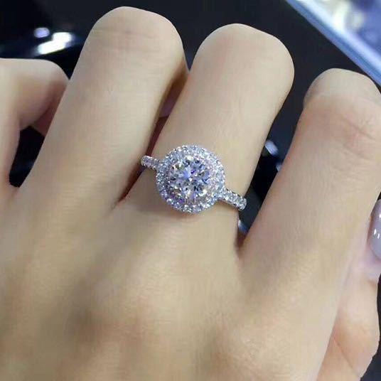 100% Real 18K Gold Ring for Women Natural AAA Moissanite Jewelry Gemstone Anillos De Bizuteria Tension Setting Mini Diamond Ring
