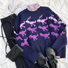 Mooirue Winter Casual Women Purple Sweater Color Contrast Dinosaur Jacquard Lazy Round Neck Loose Glutinous Thick Warm Jumper