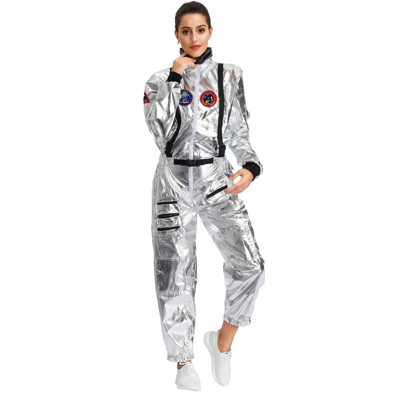 Halloween Costume silver Adult Couple Wandering Earth Space Suit Collective Party Cosplay Astronaut Men and Women image