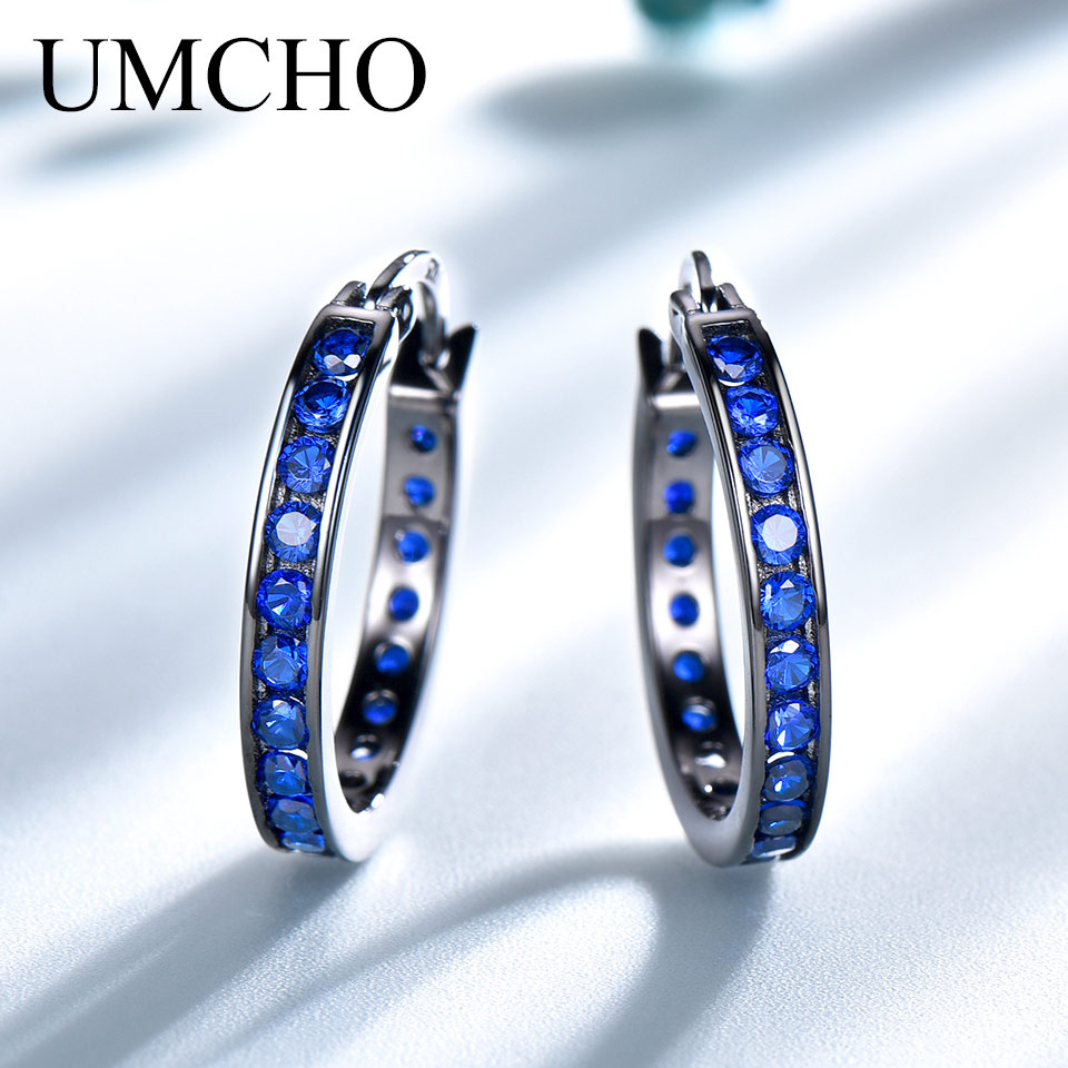 UMCHO Solid Real 925 Sterling Silver Jewelry Blue Gemstone Created Nano Sapphire Clip Earrings For Women Fine Earrings