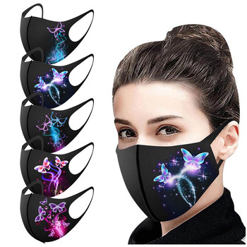 1pc Adult's Prints Protection Face Mask Washable Earloop Mask Face Mask Cover Mouth Mask Butterfly Print Masque En Tissu Lavable image