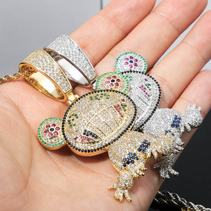 Image 3 - TOPGRILLZ Hip Hop Iced Out Frog Pendant Necklaces For Men Women Charm Chain Jewelry Gifts Full Micro Pave Zircon Necklaces