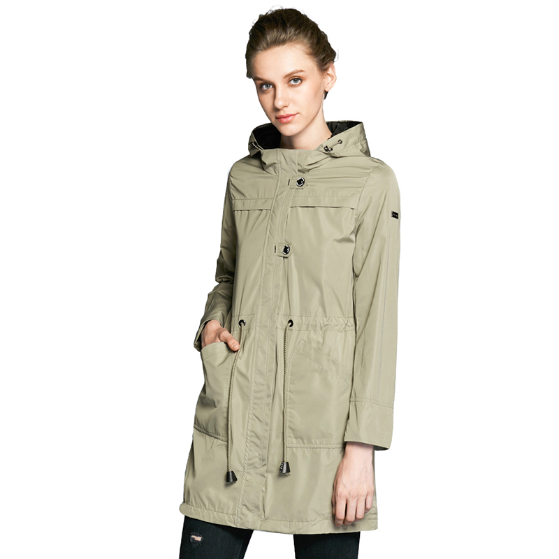 ICEbear 2019 O-Neck Collar Autumn New Arrival Brand Trench Coat for Women Solid Color Woman Fashion Slim Fashion Coats 17G123D lapel collar adjustable sleeve trench coat