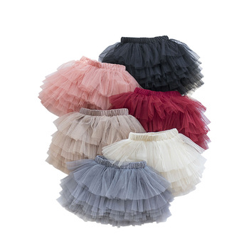 Модная Пышная юбка-пачка для девочек, балетная юбка принцессы для танцев, сетчатая юбка-пачка, детская многослойная юбка, милая Одежда для д...
