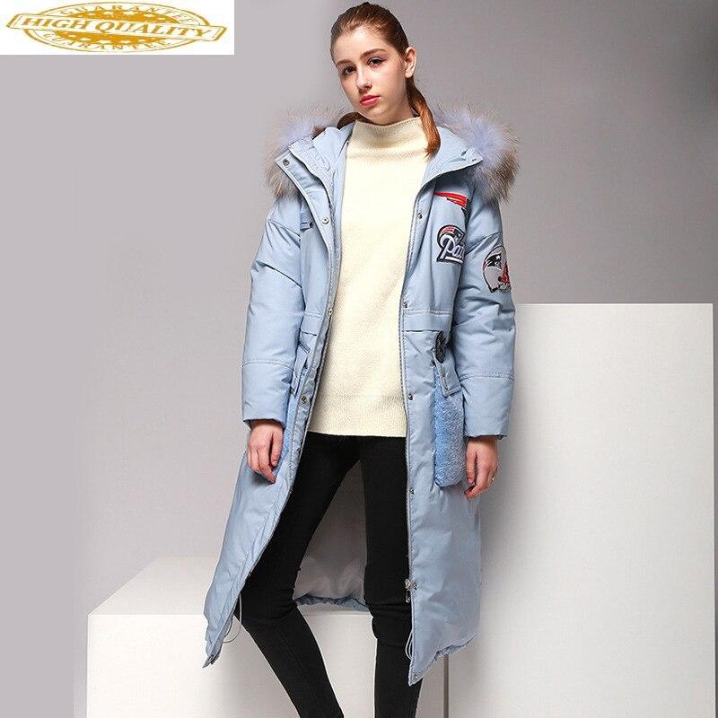 2020 European Winter White Duck Down Jacket Women Long Ladies Down Coat Racoon Fur Collar Pink Parka Veste Femme KJ733