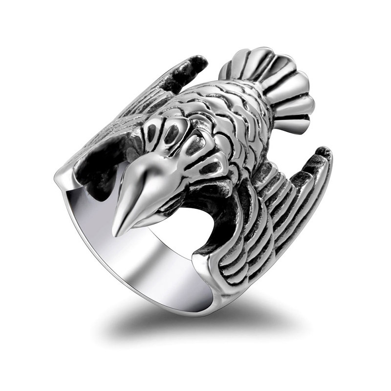 1pcs Self Defense Finger Ring Retro Titanium Steel Fly Bird Ring Outdoor Self Defense Supplier Men And Women Ring #7 #8 #9 #10