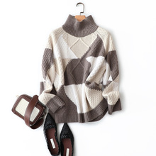 Geometric Turtleneck Womens New Arrival Sweaters C