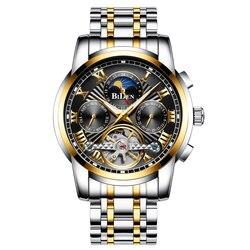BIDEN luksusowy męski zegarek automatyczna mechaniczna faza księżyca wyświetlacz tydzień srebrny czarny ze stali nierdzewnej mężczyzna zegarek wodoodporny zegar