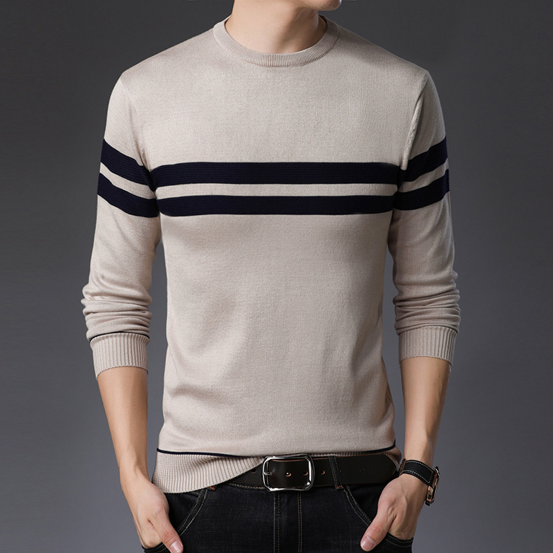 PEVSN Autumn Men Sweater Fashion O-Neck Striped Shirt Turtleneck Sweaters Mens Slim Fit Knitted Pullovers Brand Clothing 3XL