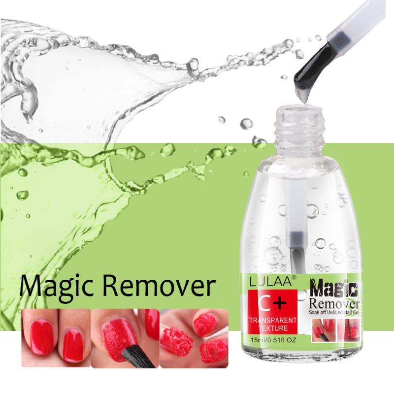 Lulaa 15ml unha polonês explosão gel mágico removedor de esmalte embeber fora prego líquido de limpeza explosão prego removedor de unha arte do prego para manicure tslm1