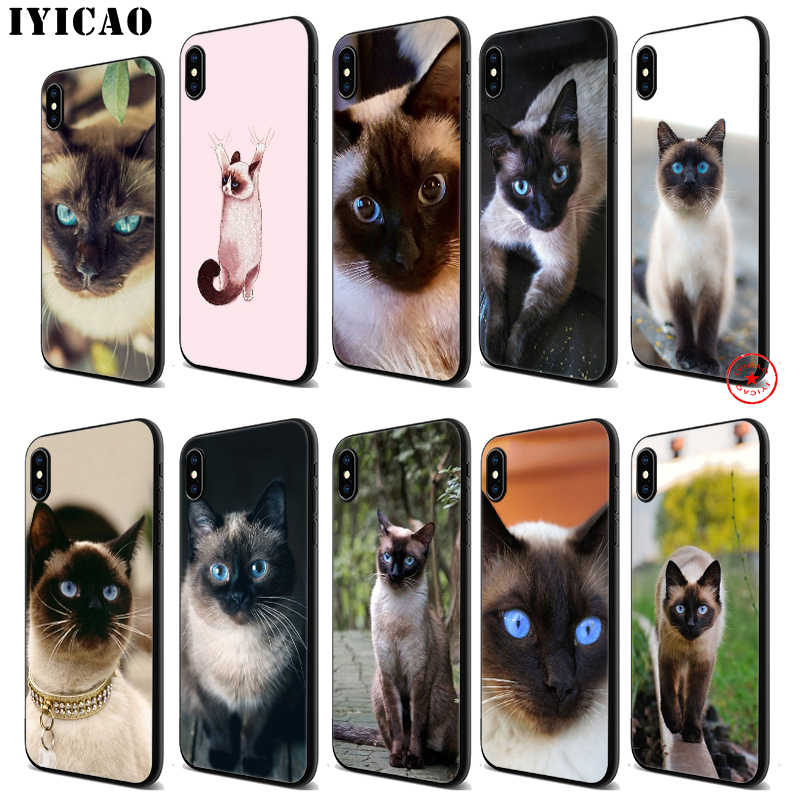 IYICAO Cute Siamese Cat Soft Black Silicone Case for iPhone 11 Pro Xr Xs Max X or 10 8 7 6 6S Plus 5 5S SE