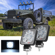 1 Or 2PCS 3 Inch 9LED 27W/Per Light Square LED Headlight Flood Offroad Lamps Work Bar Truck Driving ATV SUV