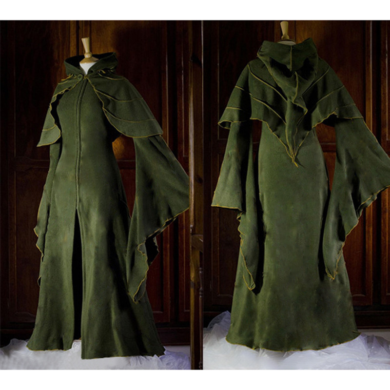 Renaissance Women's Flare Sleeve Fairy Hooded Dress Vintage Gothic Victorian Style Shawl Cloak Dress Medieval Forest Elf Dresses