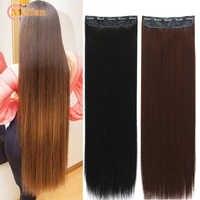 Meifan100 см длинные прямые накладные волосы на заколках, черные, коричневые натуральные волосы, накладные волосы на 3/4 головке, шпильки для воло...