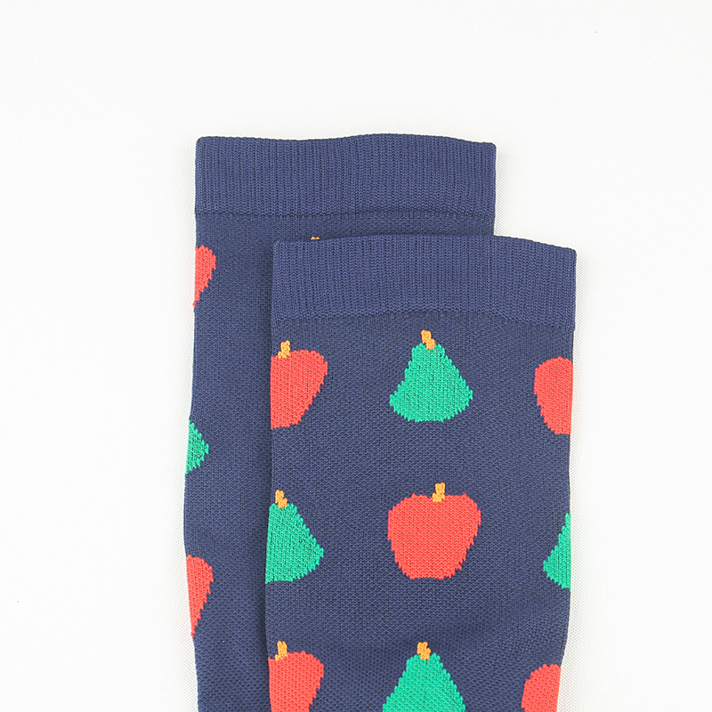 Leg Support Stretch Compression Stockings Outdoor Sport Compression Socks Fruits Pattern Below Knee Socks Long Socks Stockings