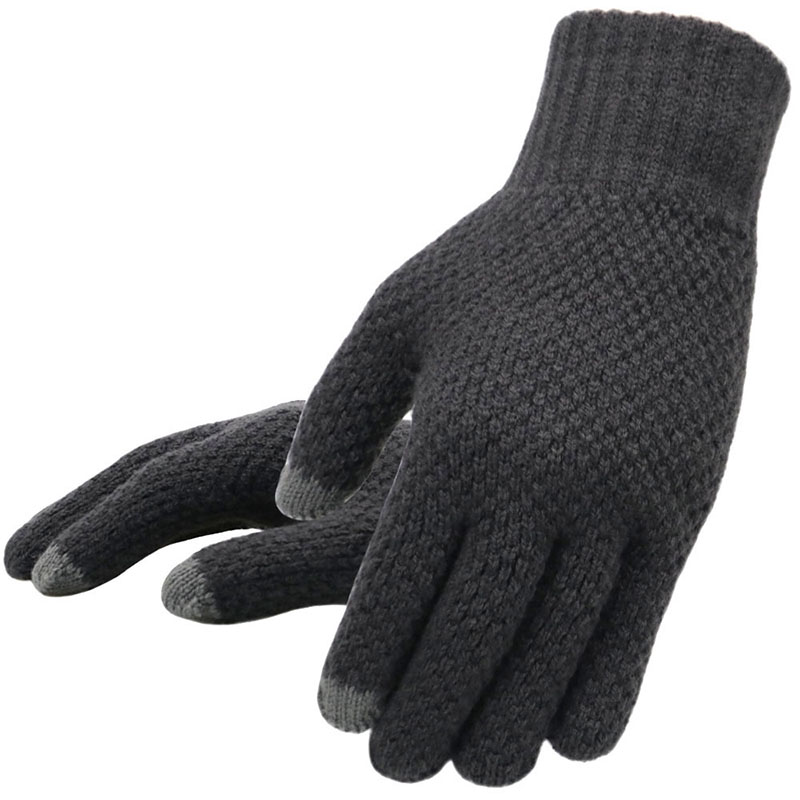 Winter Men Knitted Gloves Touch High Wool Autumn Thicken Business Mitten Gloves Cashmere Men Solid Screen Warm Quality Male