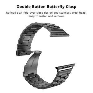 Image 5 - Jansin luxo pulseira de aço inoxidável para apple assistir banda 42mm 38mm 44mm 40mm pulseira banda para iwatch série 6 se 5 4 3