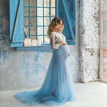 Кружевное платье 3/4 рукавом элегантное для беременных фотографии