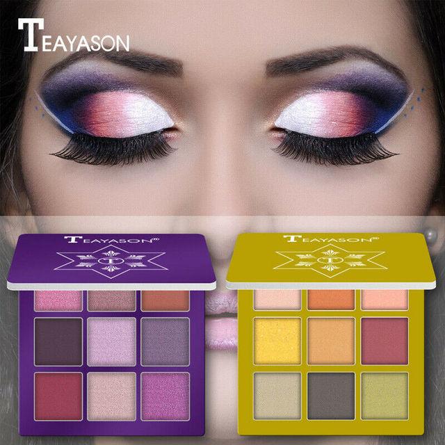 9 Colors Glitter Eyeshadow Palette Matte Eyes Makeup Pallete Eye Shadow Palette Shimmer Diamond Powder Pigment Cosmetics 1