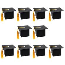 30Pcs Graduation Cap Shaped Gift Box Candy Sugar Chocolate Box Party Favor Box (Black)(China)