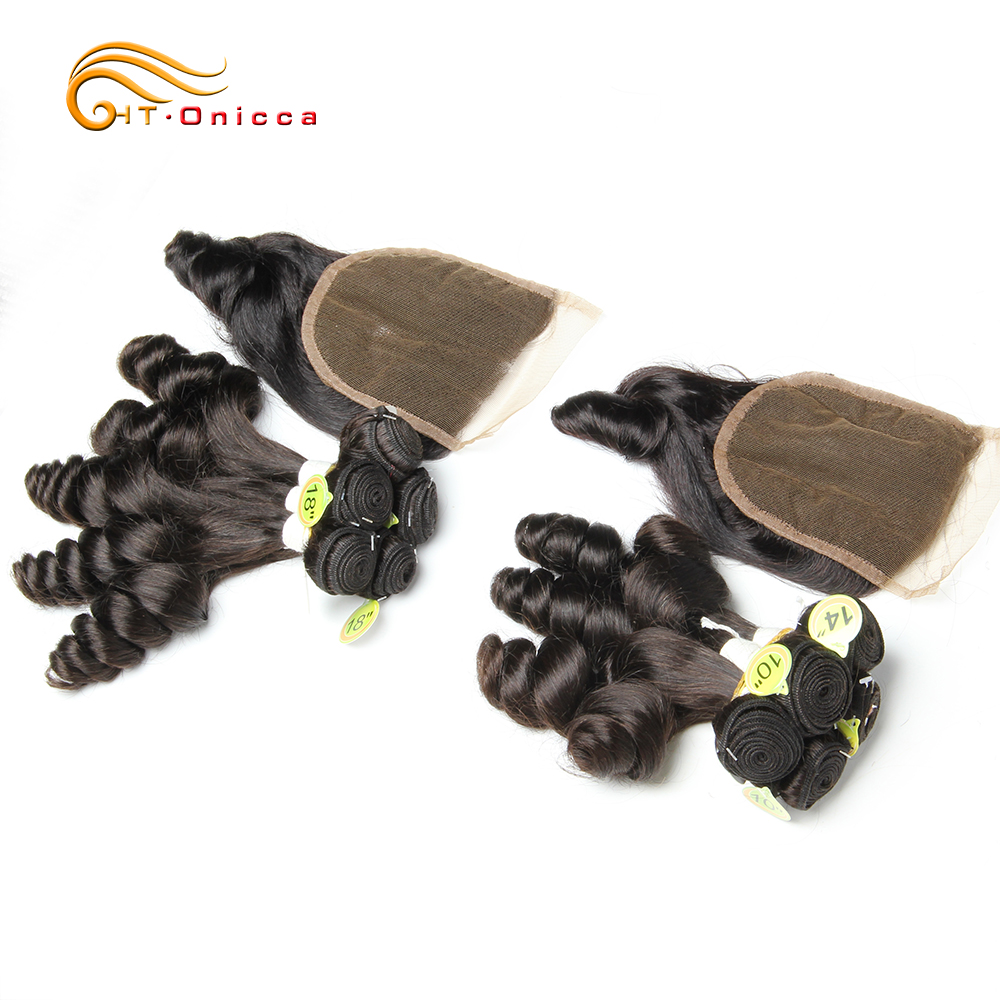 Human Hair Bundles With Closure  Curly Bundles With Closure Hair Extensions Bouncy Brazilian Hair Remy Egg Curl 5pcs Funmi Hair