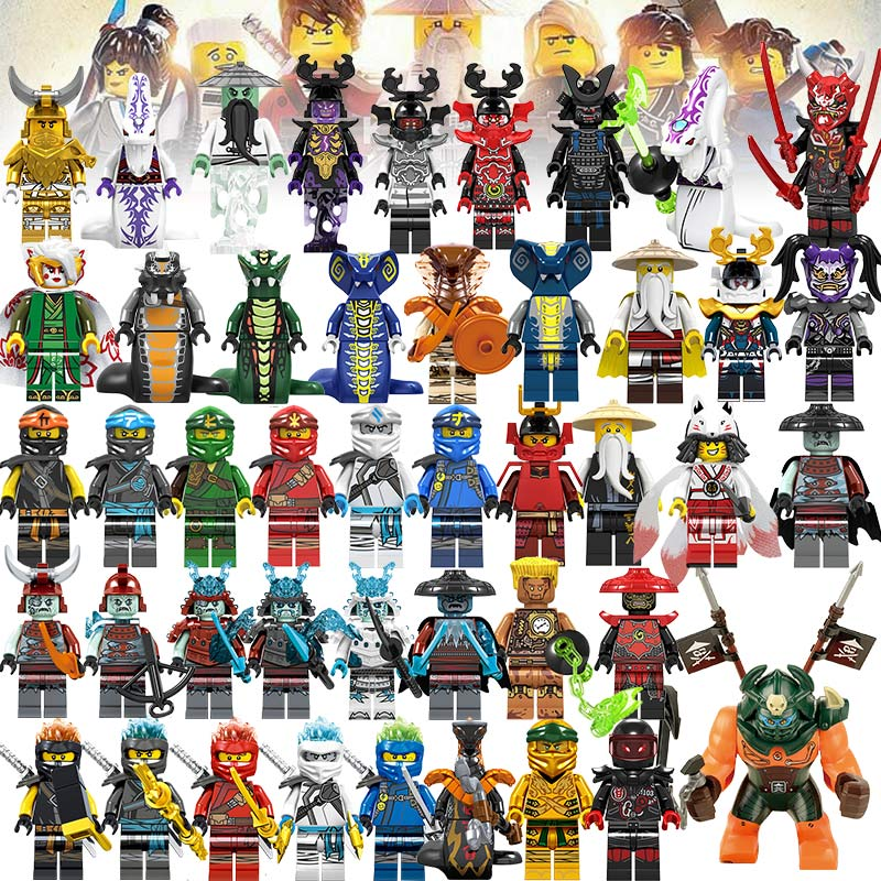 53pcs Ninja Kai Cole Jay Zane Lloyd Nya Action Figures Building Blocks Kids Toy Gift LEGOED Ninjagoed Motorcycle For Kids