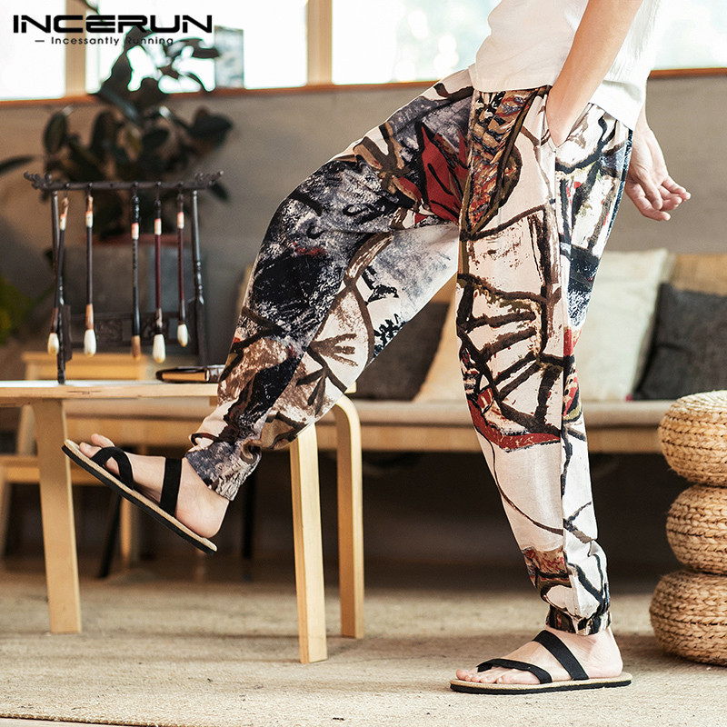 INCERUN Men Harem Pants Printed Vintage Streetwear Cotton 2020 Casual Trousers Men Baggy Joggers Drawstring Pants Plus Size 5XL