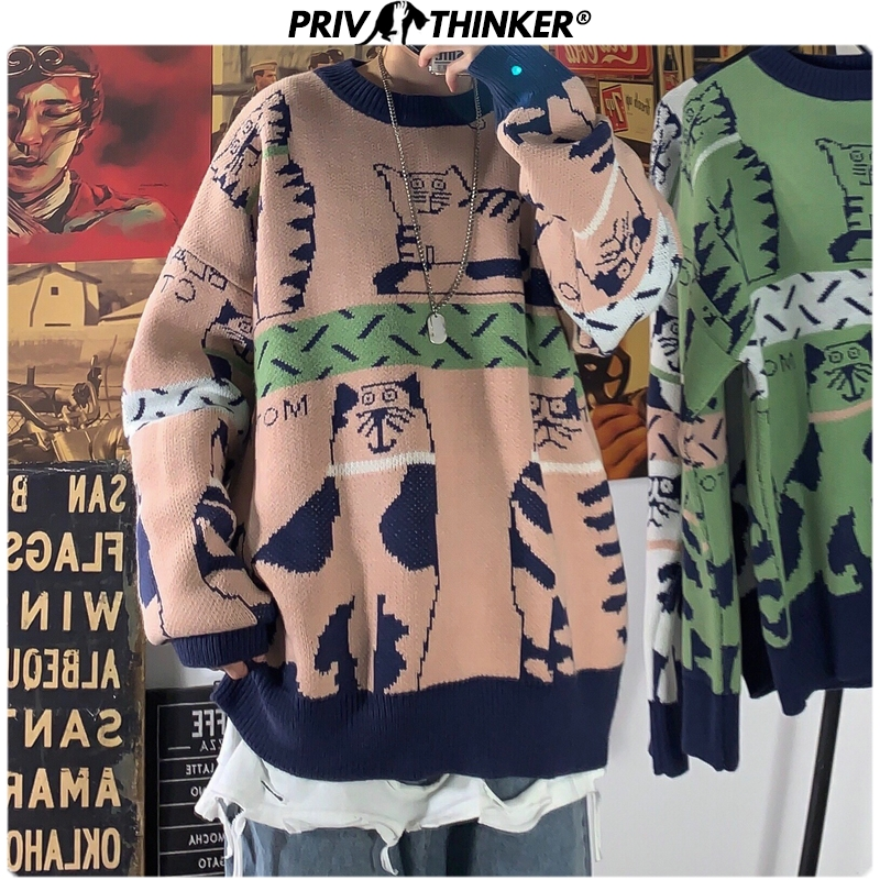 Privathinker Men Woman O-Neck Thicken Carton Printed Sweaters Mens 2019 Autumn Winter Warm Knitted Sweater Male Loose Pullovers