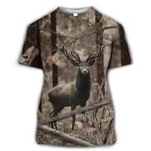 Camo caça animais javali selvagem 3d camiseta verão casual homens t camisas moda streetwear feminino pulôver criança manga curta topos