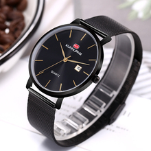 Top Luxury Mens Watch Minimalist Classic Black Ultra-thin Mesh Strap Date Display Watch Casual Sport Men Wristwatch Gift for Men