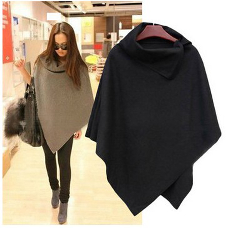 womens ponchos winter 2019 cape halloween cape woman casual turn-down collar pullover batwing sleeve plus size poncho