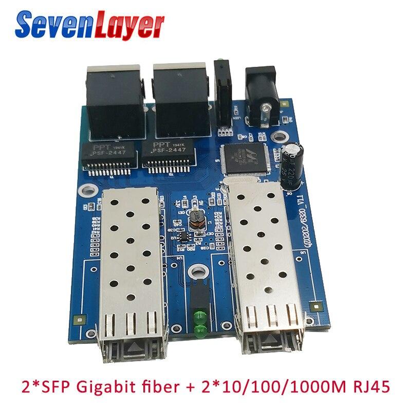 Ethernet Fiber Optical  2 SFP Fiber Port  2 RJ45 2 UTP 10/100/1000M Media Converter Gigabit Ethernet Switch 2 RJ45 UTP Board PCB