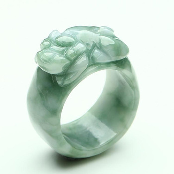(Certificate) Drop Shipping Natural Light Green AAA Grade Jadeite Jade Ring Finger 3D Carved PIXIU Gift For Men's  Jewelry 4
