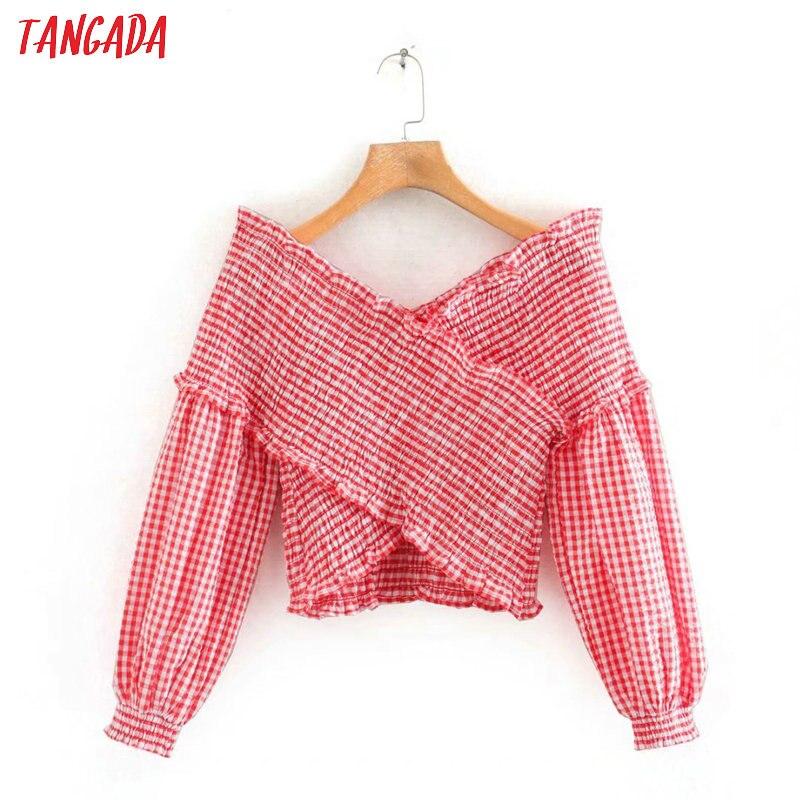Tangada Women Red Plaid Print Crop Shirt Blouse Long Sleeve 2020 New Arrival Chic Female Sexy Slim Tops 5Z151