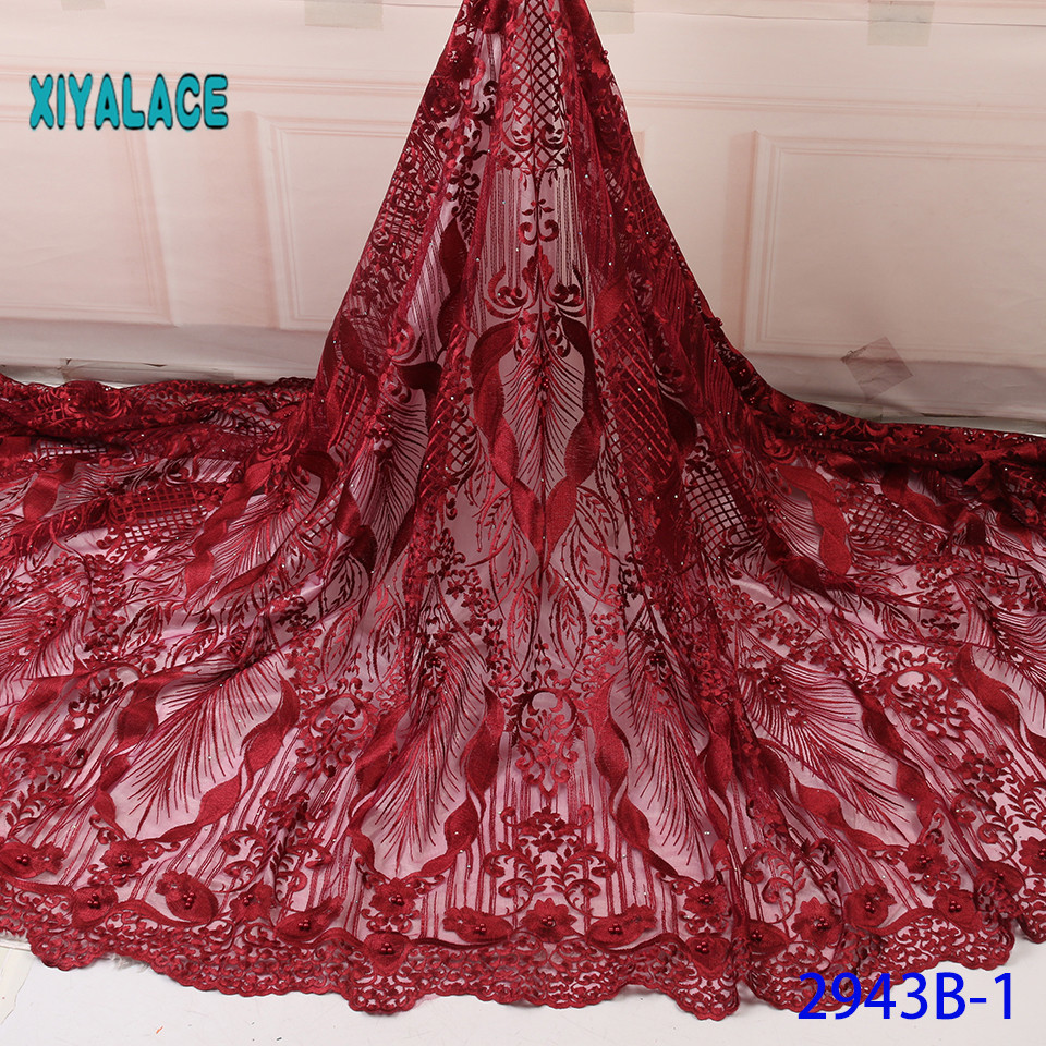 African Lace Fabric 2019 High Quality Lace French Lace Fabric Embroidery Fabric Nigerian Voile Suisse Lace Fabrics YA2943B-1