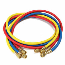 все цены на 3pcs Brass + Plastic  Refrigeration Test Charging Hoses Filling Pipe R12 R22 R134 R404 R502 Hose 1/4