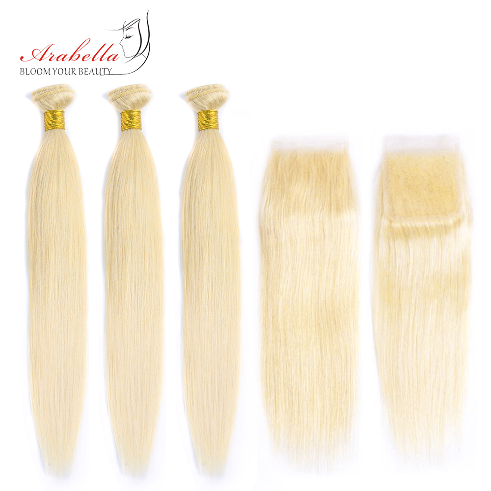 613 Bundles With Closure Brazilian Straight Remy Hair Arabella 100% Human Hair Weave Bundles Blonde Bundles With Closure