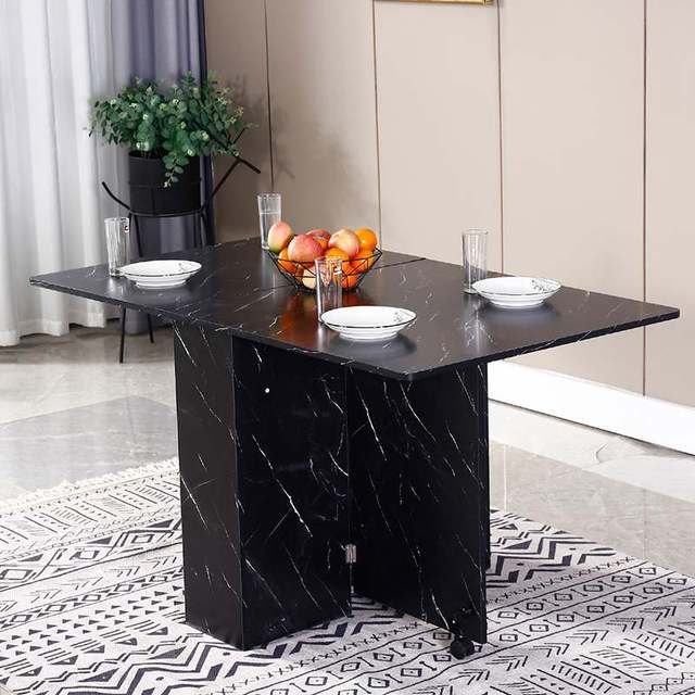 3 in 1 Rolling Dining Table Set Black/White Marble Folding Wooden Dining Table Movable Office Table Kitchen Storage 1