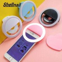 Универсальная лампа Shellnail для селфи, фотовспышка с объективом, портативная кольцевая Светодиодная лампа для камеры, светящееся кольцо с заж...