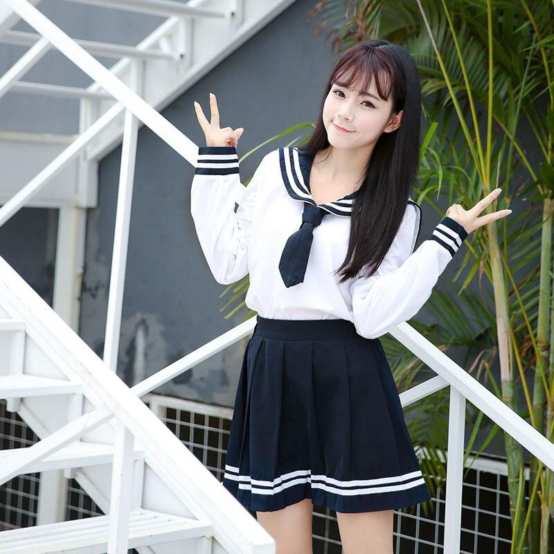 2PCS High-end JK Uniform For Girls Japanese Korea Tops+Skirt+Tie School Wear Uniform Student Sailor Black White Suit C30153AD
