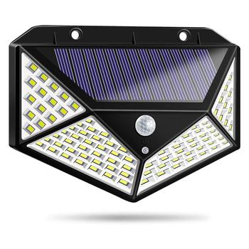цена на 100 LED Solar Light PIR Motion Sensor Outdoor Solar Lamp IP65 Waterproof Wall Light Solar Sunlight Powered Garden street light