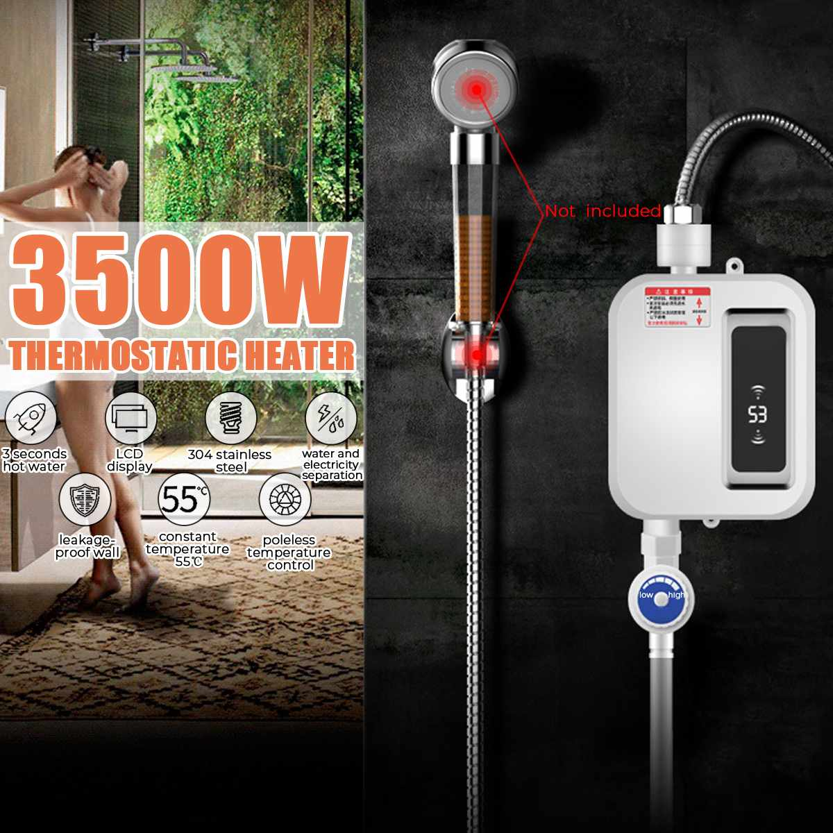 3000W Tankless Water Heater Bathroom Kitchen Instant Electric Hot Water Heater Tap Temperature LCD Display Shower Faucet image