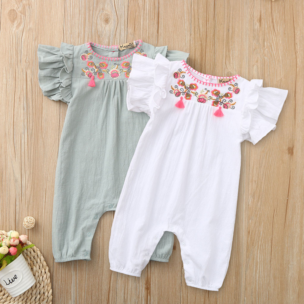 Baby Kids Girls Romper Set Solid Short Sleeve Romper Jumpsuit Embroidery Newborn Baby Girls Clothes Autumn Cute Infant Clothing