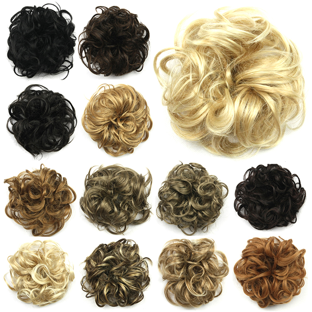 Soowee 30 Colors Synthetic Hair Accessories For Women Headwear Headband Hair Bun Chignon Hair Roller Hairband Scrunchie UPDO