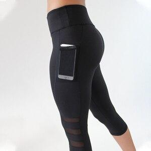 Image 3 - 2018 שחור סקסי כושר ספורט קאפרי מכנסיים נשים גבוהה מותן אלסטי רשת צועד מכנסיים עם כיס קצוצים מכנסיים