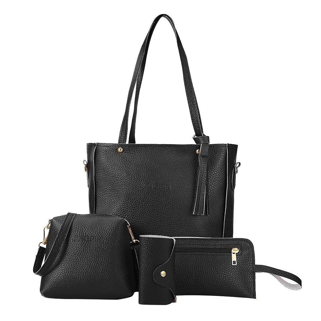 4pcs Set Handbags Fashion Satchel Bags Shoulder Purses Top Handle Work Bags